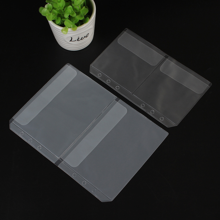 Loose Leaf PVC Storage Bag Sticker Ticket Card Organizer Bag with Flap A5 A6 Spiral Notebook Diary Coil Ring Binder Filler