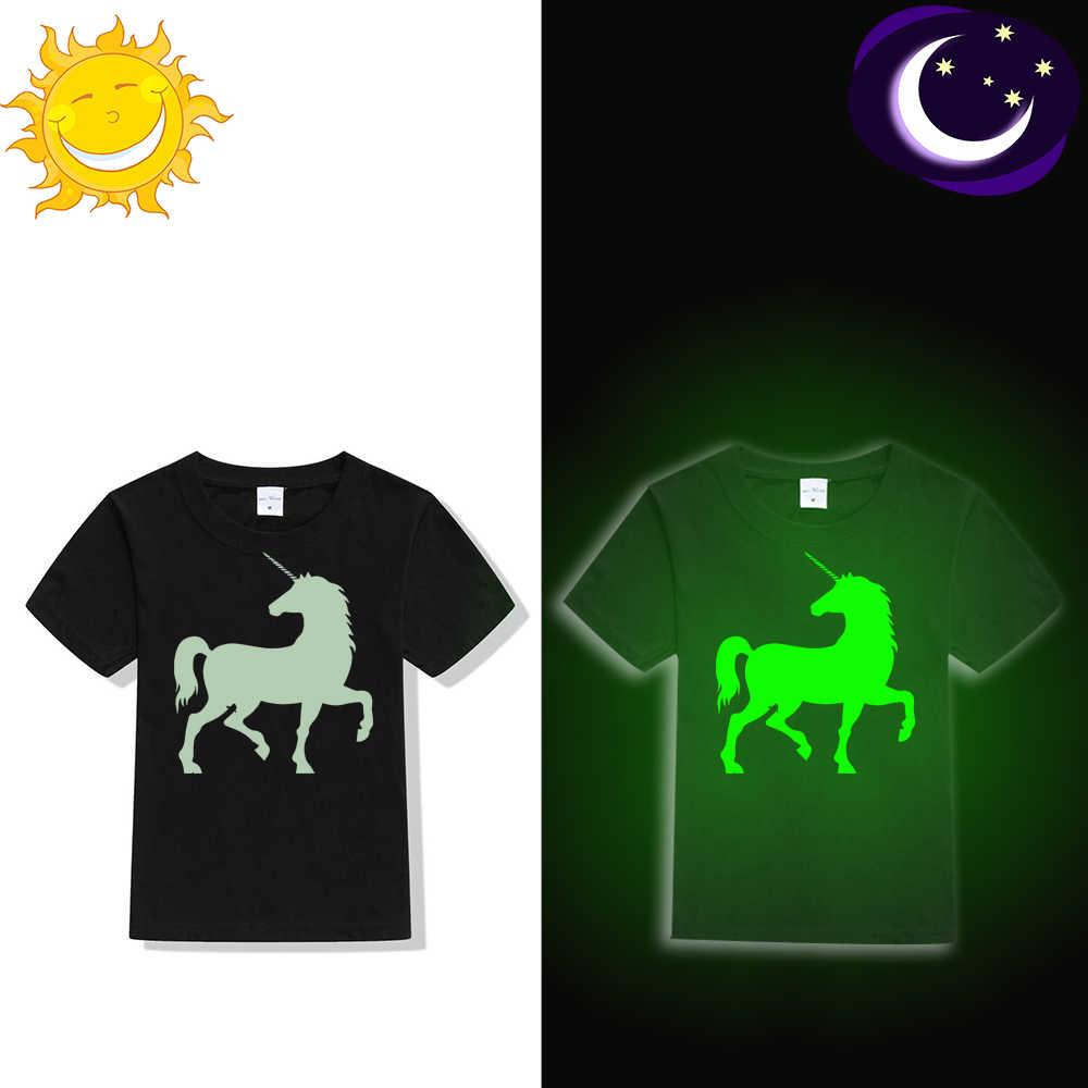 קיץ האופנה טי חולצה זוהר Unicorn הדפסת זוהר בחושך בגדי הברנש עיצוב חולצה מצחיק לשני המינים לפעוטות ילדים חולצה