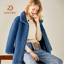 ZDFURS*2019 Winter New Sheep Shearing Fur Jacket Women White Granular Wool Thicken Warm Female Outwears Loose Coat