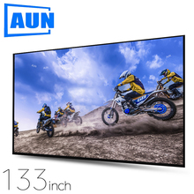 AUN Thicken Projector Screen 100/120/133 inch 16:9 Foldable Portable White cloth material for 4K Full HD Home theater