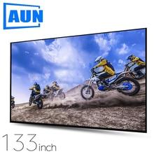 AUN pantalla gruesa para proyector, 100/120/133 pulgadas, 16:9, Plegable, portátil, material de tela blanca para Cine en Casa 4K Full HD