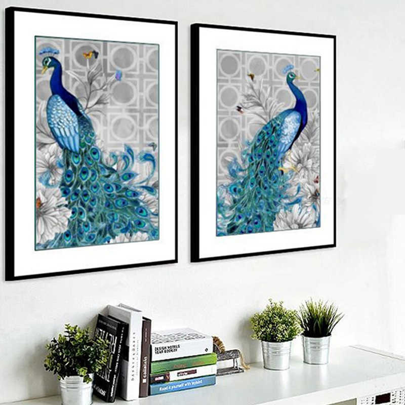 Hot 1Set Hot Sale High Quality Peacock Cross-stitch Home Decoration DIY  Popular 5D Rhinestone Painting Embroider Animal Partial