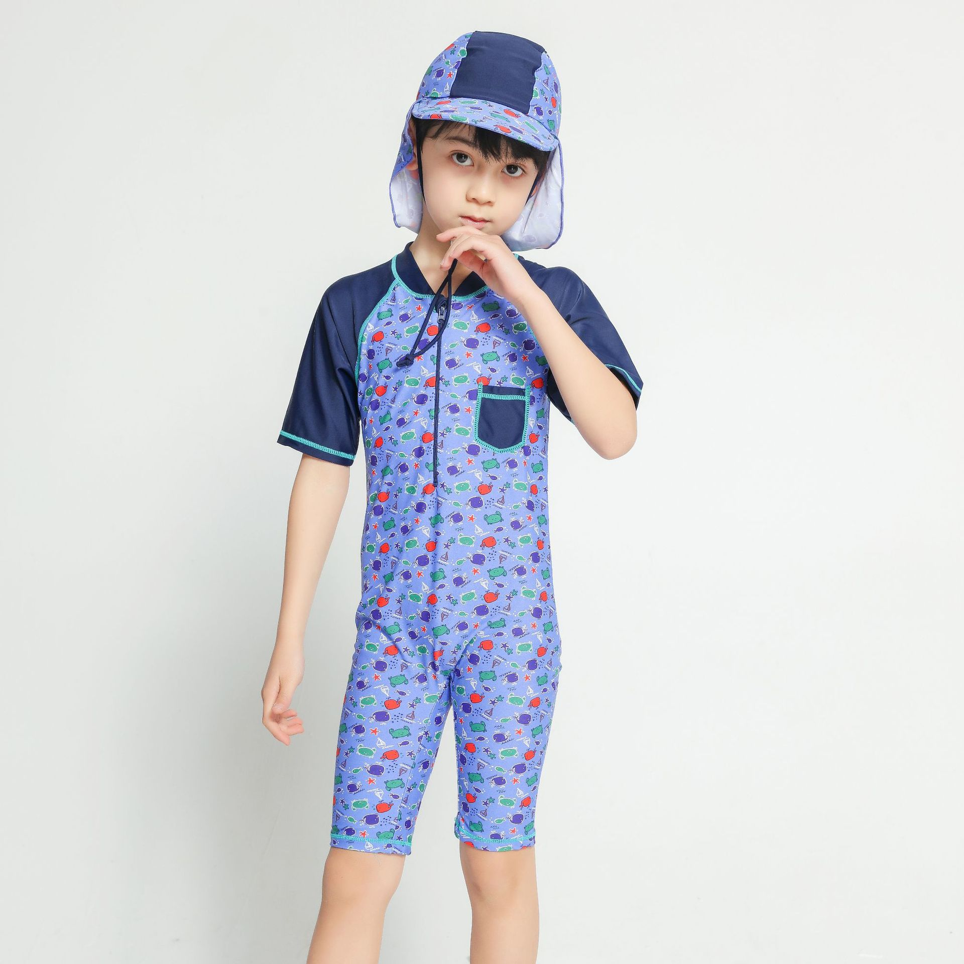 Water Sports Anti-UV BOY'S Jin Urethane Elastic Fibre Short Sleeve One-piece Shorts Bathing Suit With Sun Protection Hat 4-10-Ye