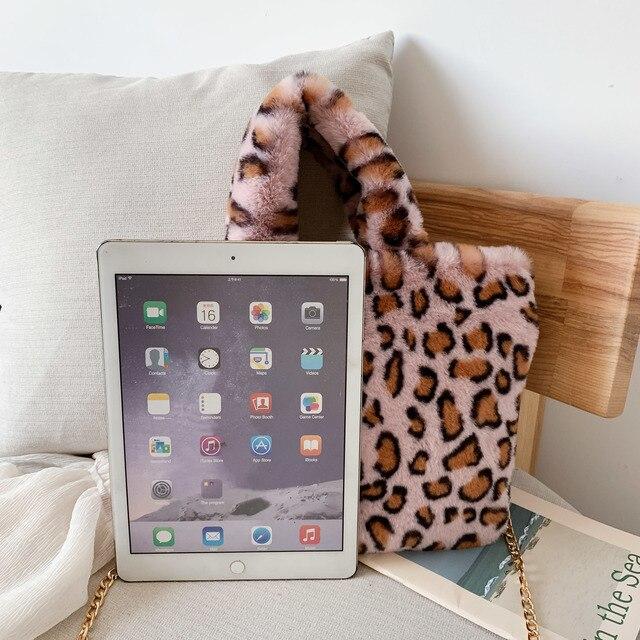 Winter new fashion shoulder bag female leopard female bag chain large plush winter handbag Messenger bag soft warm fur bag 5