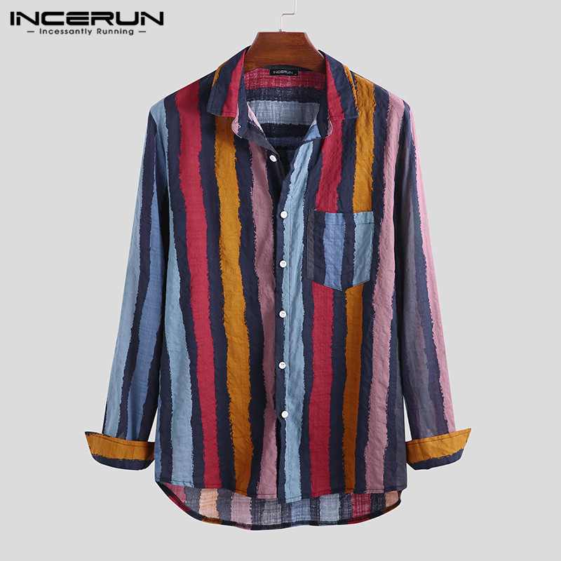 INCERUN Men Casual Shirt Long Sleeve Striped Lapel Neck Button Loose Retro Shirts Hombre Streetwear Brand Clothing Men 2019 5XL