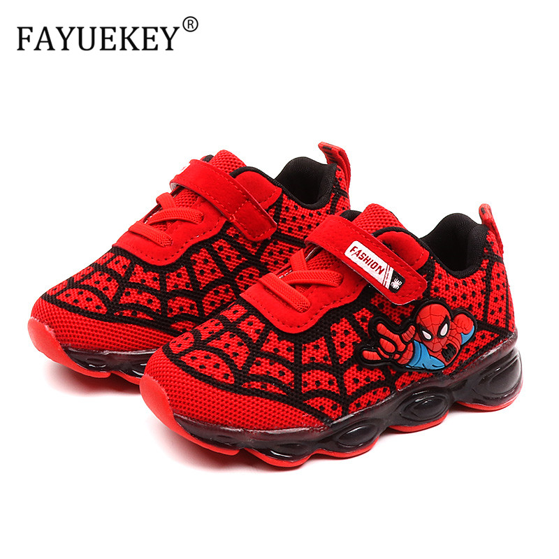 Led Luminous Spiderman Kids Shoes For Boys Girls Light Children Glowing Baby Sneakers Cartoon Mesh Running Sport Shoes
