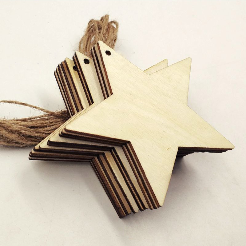 10Pcs Five-pointed Star Pendant New Year Gifts 8cm Hemp Rope Garden Decor Festive Party Supplies Christmas Tree Decoration