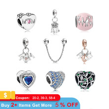 New Original Silver Plated Bead Alloy Family Mother Love Heart Pendant Charm Fit Pandora Bracelet Necklace DIY Women Jewelry(China)