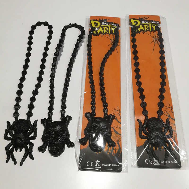 Halloween dekoracja zabawny broda naszyjnik cukierek albo psikus czaszka pająk naszyjnik kostium na bal maskowy sukienka dla dzieci mężczyzn dorosłych, Q
