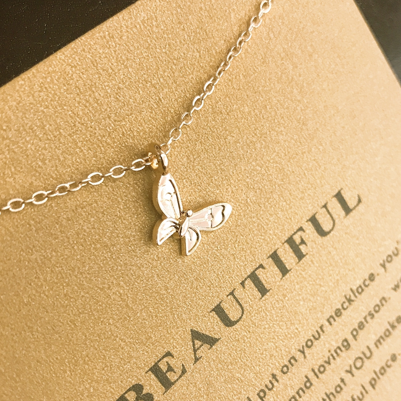 Wholesale Beautiful Butterfly Gold Sliver Chain Choker Necklace Pendant For Women