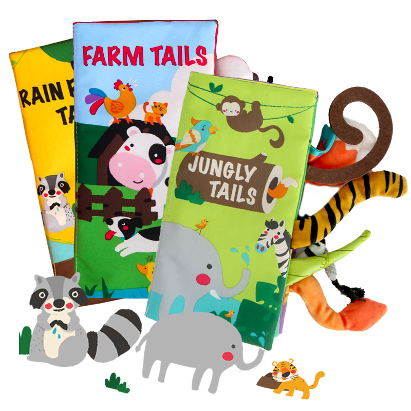 Beiens 3PCS Baby Book Kids Learning Educational Toys Infant Quiet Books Montessori Toys Animal Cloth Book with Tails Rattle Gift(China)