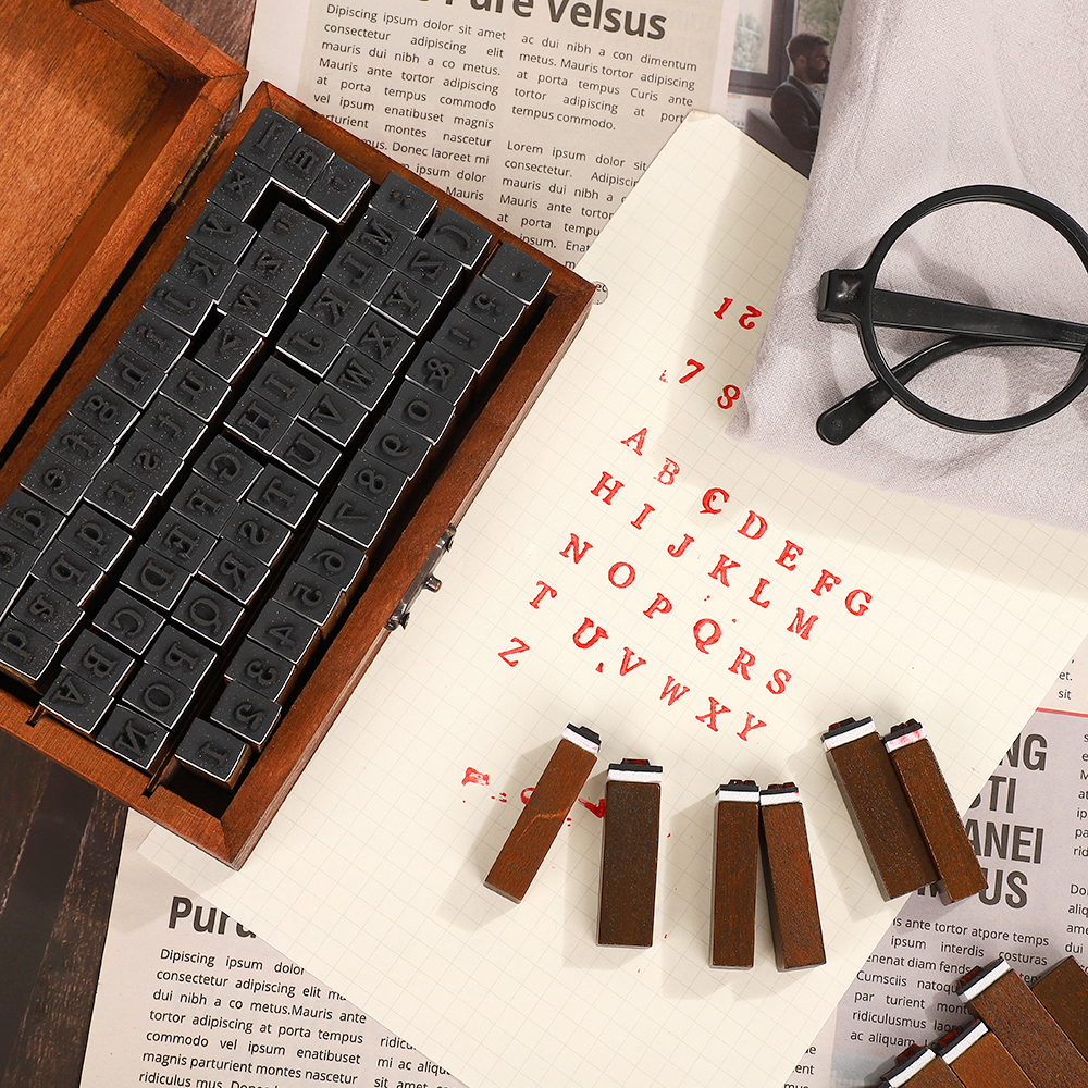 JIANWU Multiple Vintage Trend Series Wooden Journal Stamps Creative Letters And Numbers Seal DIY Student Stationery Supplies 4