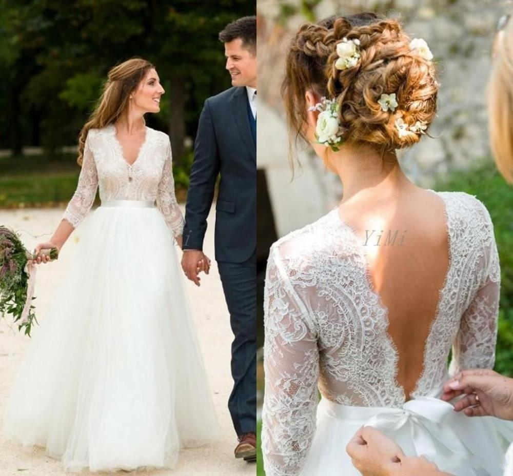 Beach Garden Country Boho Wedding Dresses 2019 Long Sleeves V Neck Lace And Tulle A Line Backless Bridal Gowns Cheap