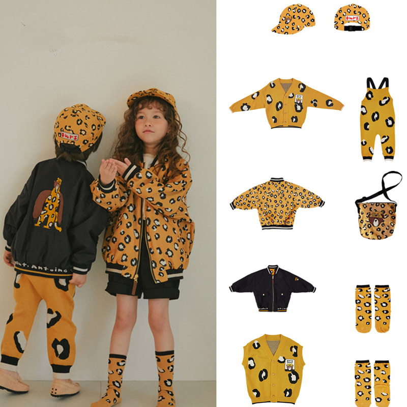 Kids Sweater Girl Leopard Clothes Overall Boys Coat Matching Children Korean Brand New Autumn Winter Clothes Knitted Overalls 1
