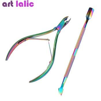 2Pcs/Set Nail Cuticle Nipper Double Spring Dead Skin Pusher Holographic Titanium Art Manicure Pedicure Tools Kit - discount item  31% OFF Nail Art & Tools