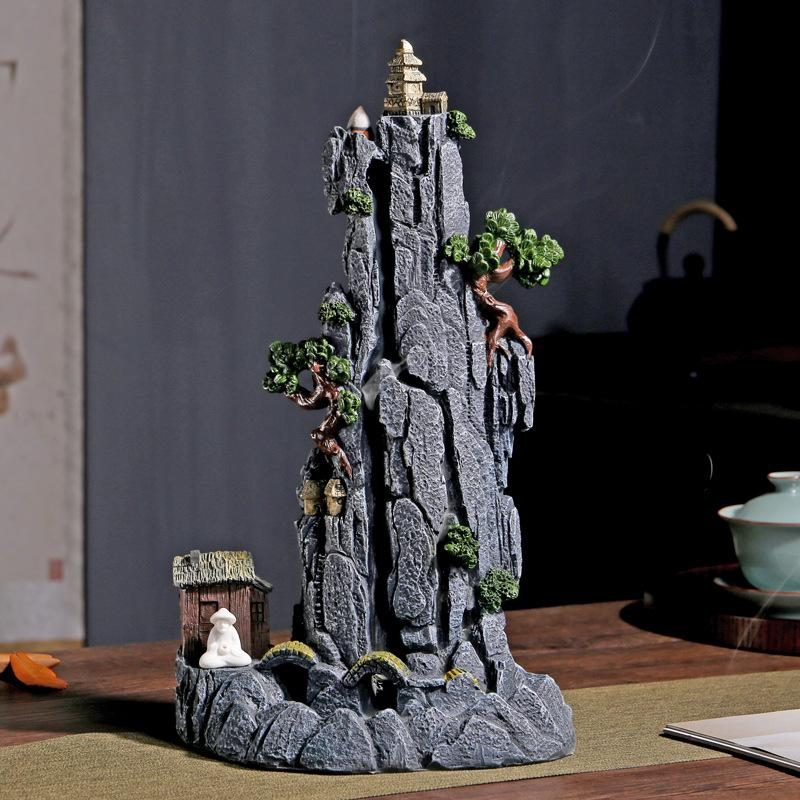 Mountains Backflow Incense Burner Smoke Waterfall Holder Ceramic Aromatherapy Furnace Mountain River Handicrafts