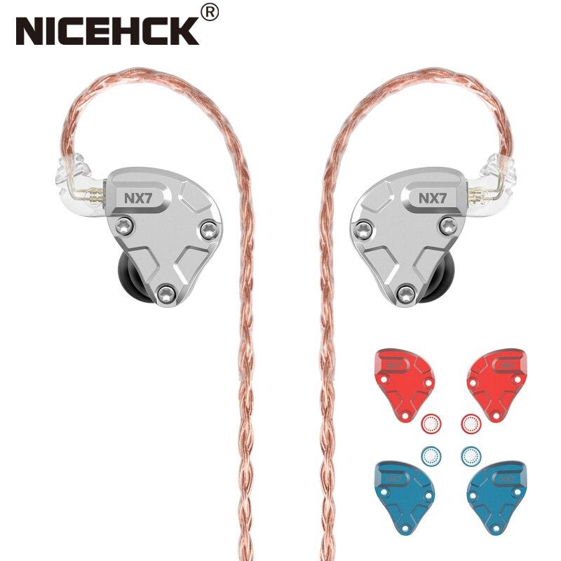 NICEHCK-auriculares HIFI NX7 Pro con 7 unidades de controlador, 4BA + Dual CNT Dynamic + cerámica piezoeléctrica, filtro reemplazable híbrido, Facepanel IEM