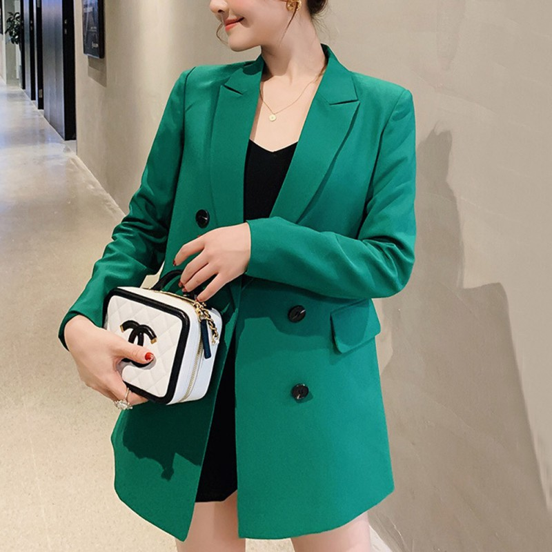 Korean New Women Blazer Fashion Pockets Jackets Female Long Sleeve Casual Solid Color Suits Coat Feminino Blazer Outwears