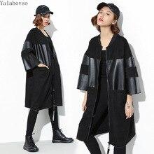 High Street Three Quarter korean fashion clothing windbreaker plus size woman clothes PU jacket 2019 Autumn new arrivals