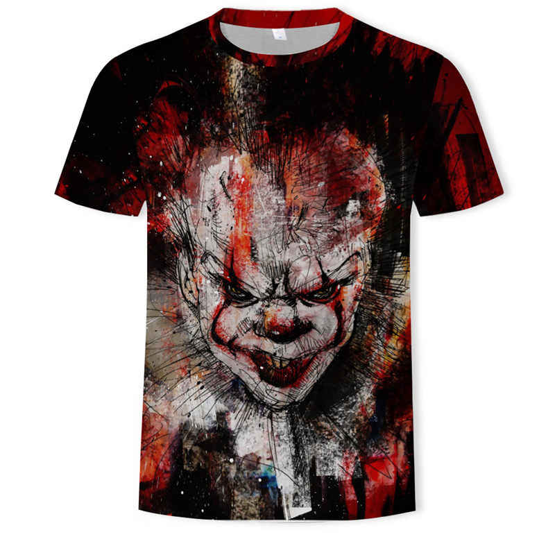 Horror Film Het Penny Wise Clown Joker 3D Print Tshirt Mannen/Vrouwen Hip Hop Streetwear Tee t-shirt 90s Jongens Cool Kleding Man Tops
