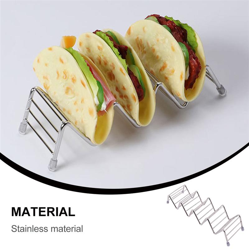 1Pc Stainless Steel Taco Rack Stand Taco Holder Hard Shell Tacos Tortilla Roll Mexican Pancake Rack Frying Food Rack Kitchenware