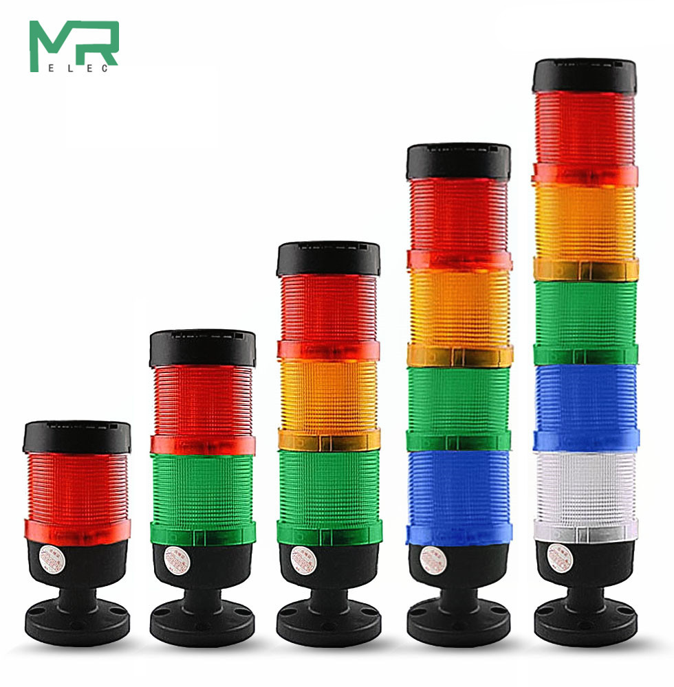 Stack Lamp Industrial LED Signal Tower Alarm Caution Light Tower Industrial Warning Light For Machine No Buzzer 2V 24V 110V 220V