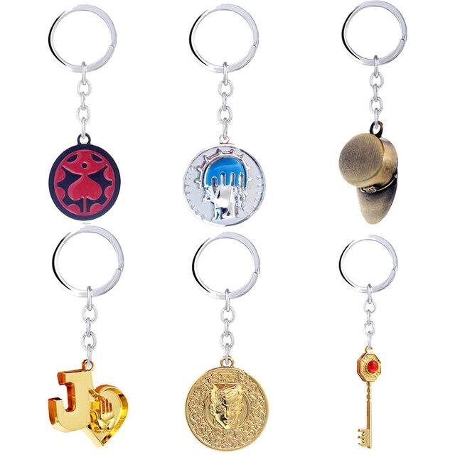 New JoJos Bizarre Adventure Keychain Anime Key Chain Kujo Jotaro Hat Key Ring Holder Pendant Chaveiro Jewelry Souvenir