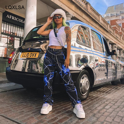 Sisterlinda Print Casual Women Fashion Streetwear Harem Pants High Waist Joggers Wide Leg Sweatpant Lady Long Trousers2020