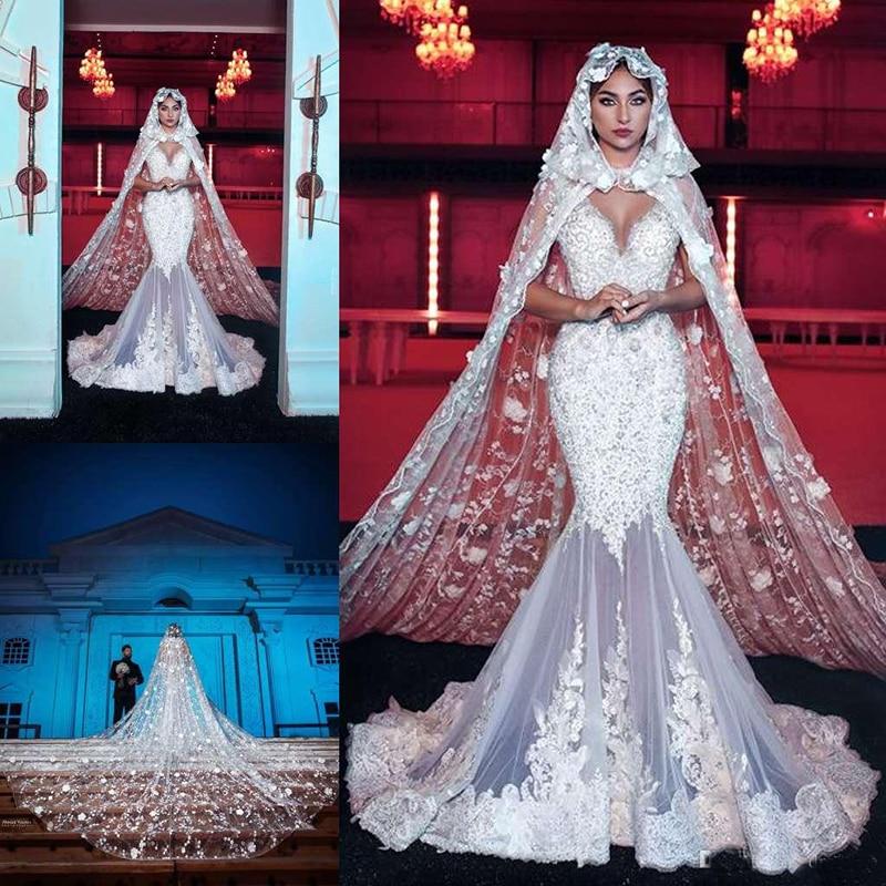 Luxury Muslim Mermaid Wedding Dresses With Cape V Neck Lace Beads Crystal Bridal Gowns Saudi Arabic Dubai Plus Vestido De Novia
