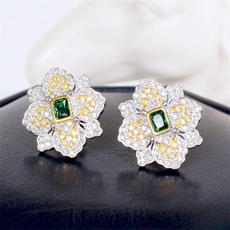 Image 5 - CMajor S925 Solid Sterling Silver High end Delicate Vintage  Temperament Elegant Flower Shape Two Tone Stud Earrings for  WomenEarrings