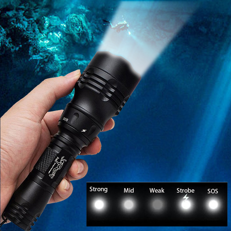 TOPCOM Powerful 10W CREE XM-L2 T6 LED Diving Flashlight Professional IP68 Diving Light Torch 5-Mode Scuba Underwater Lantern