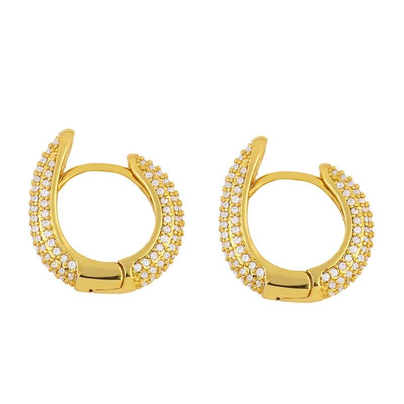 Fashion Cute Gold Pave Full Zirconia Crystal Geometric Hoop Earings Snake Shape...