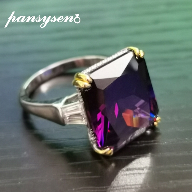 PANSYSEN Charms 14x16mm Amethyst Gemstone Rings For Women Men Genuine 925 Sterling Silver Engagement Finger Ring Fine Jewelry