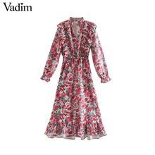 Vadim فستان متوسط الطول بطبعة الزهور الكشكشة مرونة الخصر طويلة الأكمام الإناث الرجعية أنيقة ألف خط فساتين vestidos QC949