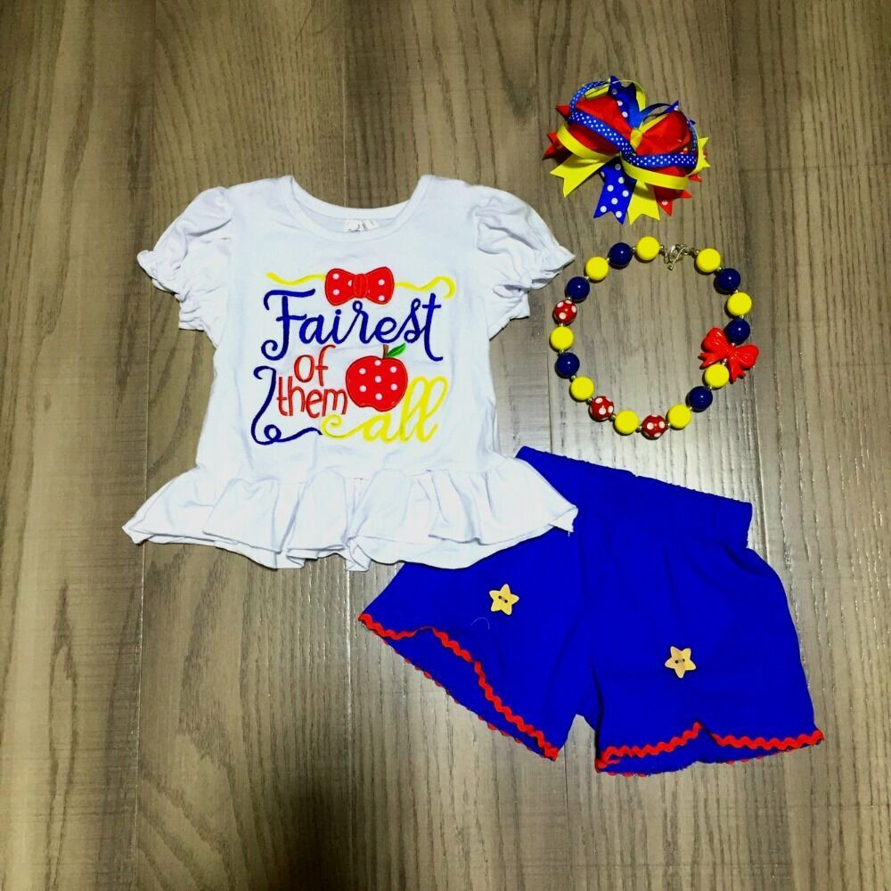 Baby Girls Back To School Clothing Girls White Shirt Blue Stars Shorts With Accessories