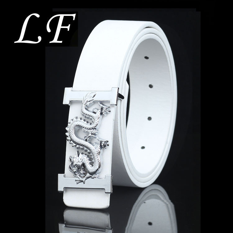 Men's And Women's Jeans With Trendy White Student   Belt   With Dragon Pattern Smooth Buckle   Belt