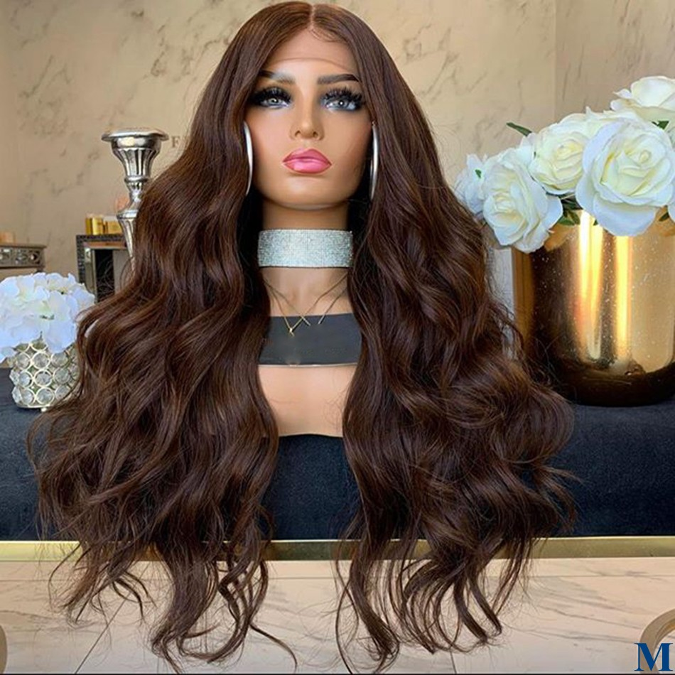 Brazilian 180Density #4 Chocolate Hair Color Body Wave Lace Front Wigs For Black Women 13x6 Deep Part Lace Front Wigs Remy Hair