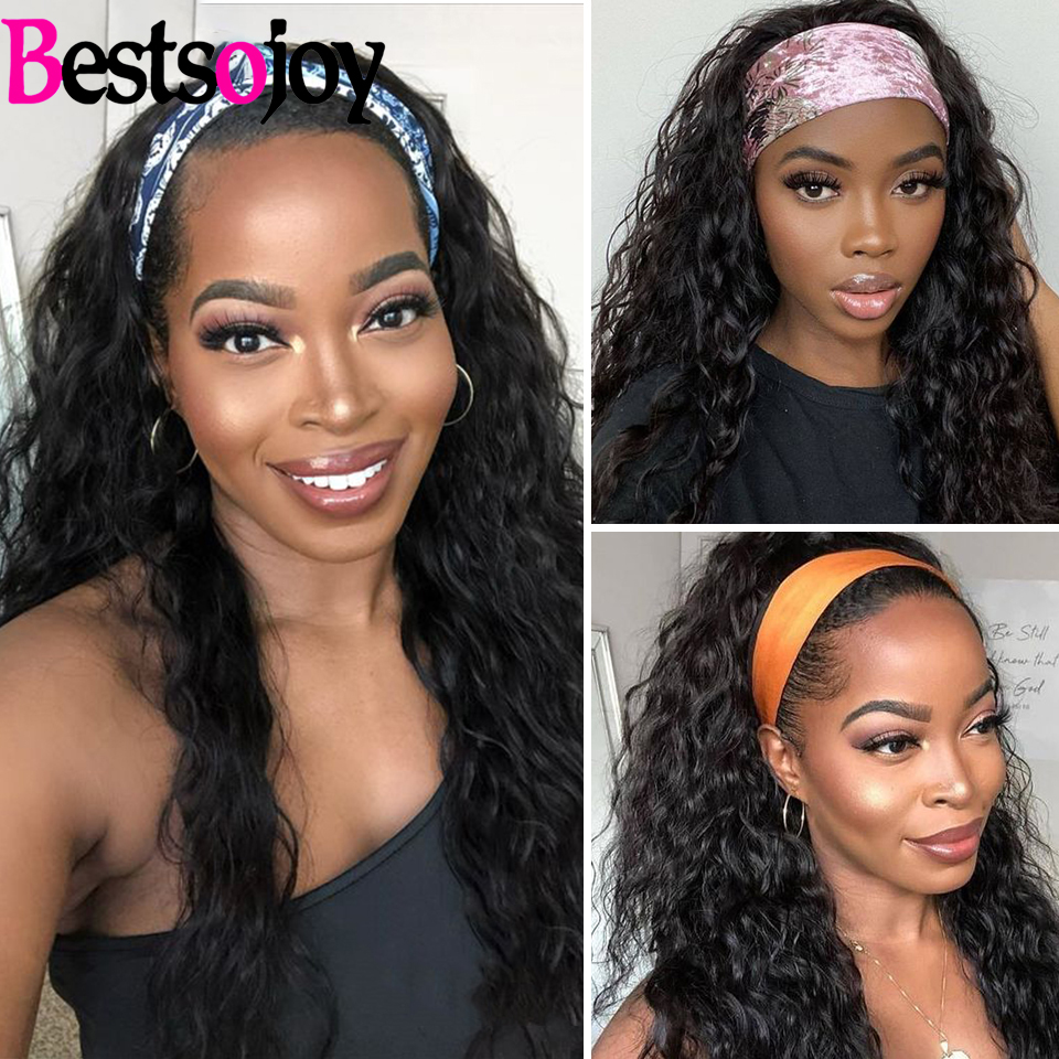 Bestsojoy Human Headband Wig Brazilian Water Wave Hair Wig Full Machine Made Curly Human Hair Wigs For Black Women Remy Wigs