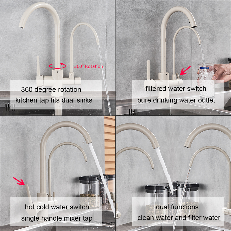 Beige Black Purifier Water Kitchen Faucet Filter Water Tap 360 Rotation Dual Handles Purification Filtered Kitchen Sink Faucet