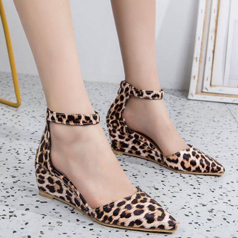 Leopard Women Wedge Ankle Strap Pumps Zip Suede Pointed Toe Shallow Ladies Shoes Summer Plus Size Casual Fashion High Heel