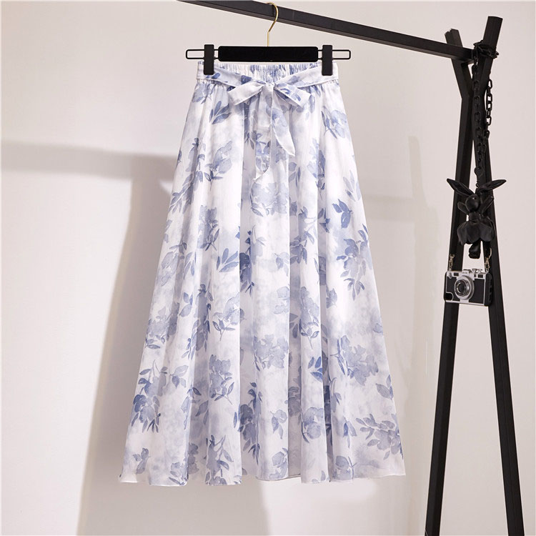 Vintage floral print chiffon skirts women Sprint Summer korean A line Pink streetwear high waist ladies midi skirt