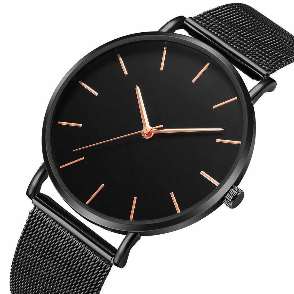 גברים שעון קוורץ מזדמן שעונים פשוט מתכת שעה Reloj קוורץ שעון Montre רשת נירוסטה erkek kol saati masculino שעון