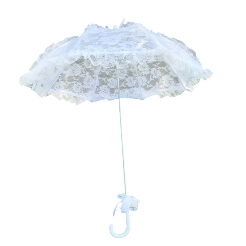 2021 New Bridal Lace Hollow Umbrella Wedding Decoration Photo Props Rose Long Handle Umbrellas
