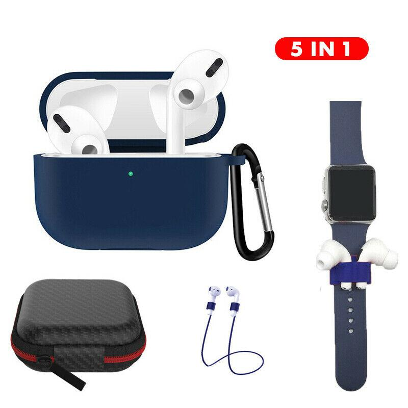 Earphone Protective Case for AirPods Pro Soft Silicone Cover+Carabiner+Anti-lost Strap+Wrist Holder+Storage Bag Earphone