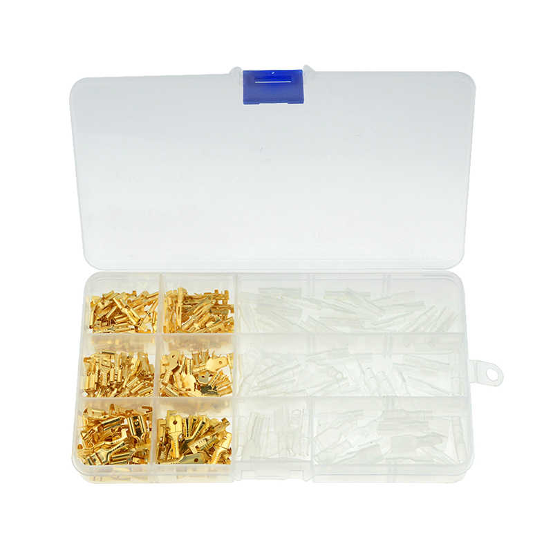 270PCS/box Gold Insulated Wire Connector Electrical Wire Crimp Terminals 2.8 4.8 6.3mm Spade Connectors Assortment Kit