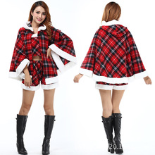 DM Santa Claus Costume Cosplay Costume Miss Merry Christmas Ms. Hooded Christmas Theme Party Cosplay Fancy Costume Two-Piece Set