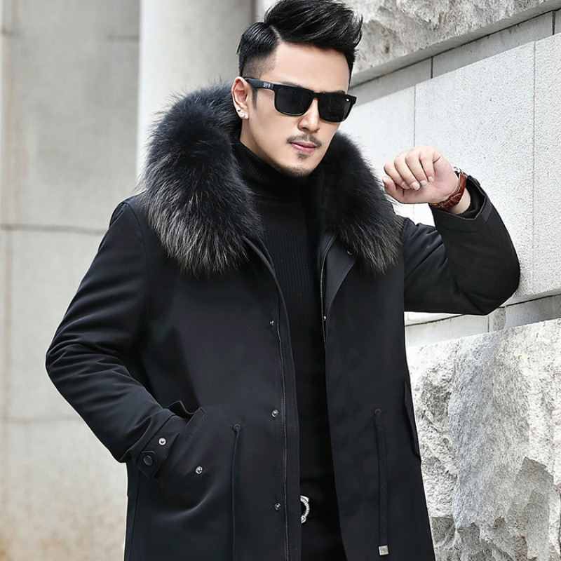 Real Coat Winter Jacket Natural Wool Liner Parka Men Raccoon Fur Collar Warm Jackets Chaqueta Hombre L18-2511 YY345