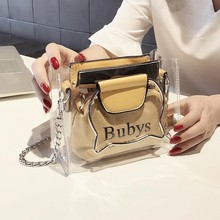 Shoulder new bag womens 2019 New style-ins Super fire Korean-style hand versatile chain bucket transparent