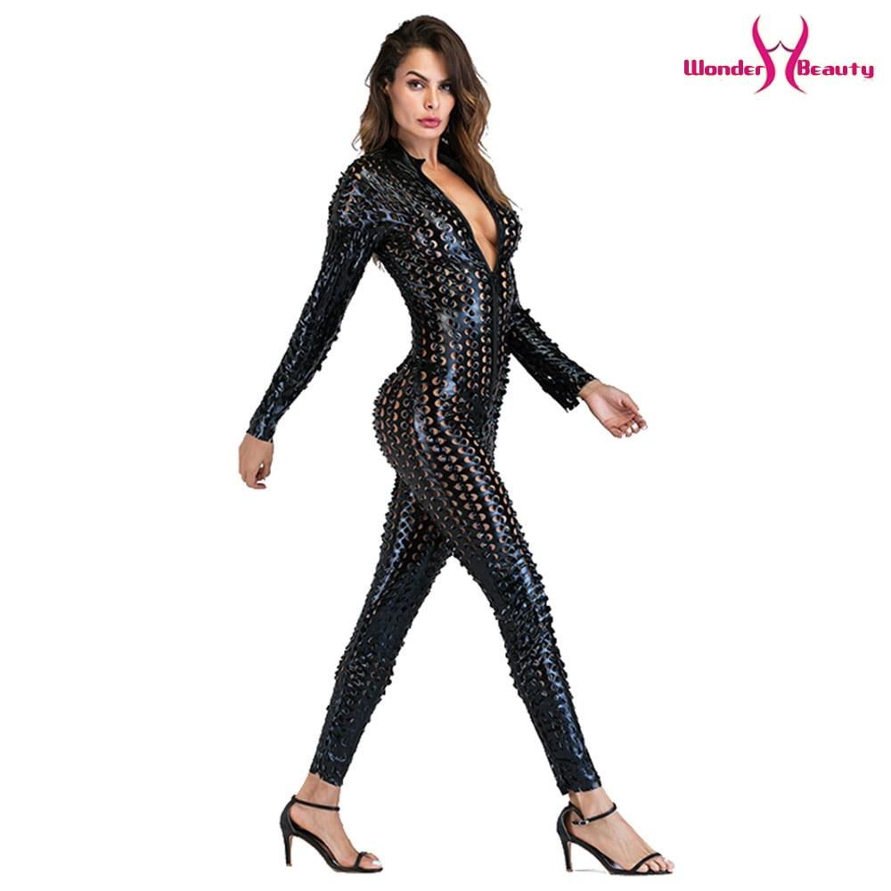 wetlook catsuit pu faux leather jumpsuit zentai costume women zipper front hollow out hole pole dance nightclub vinyl bodysuit (35)