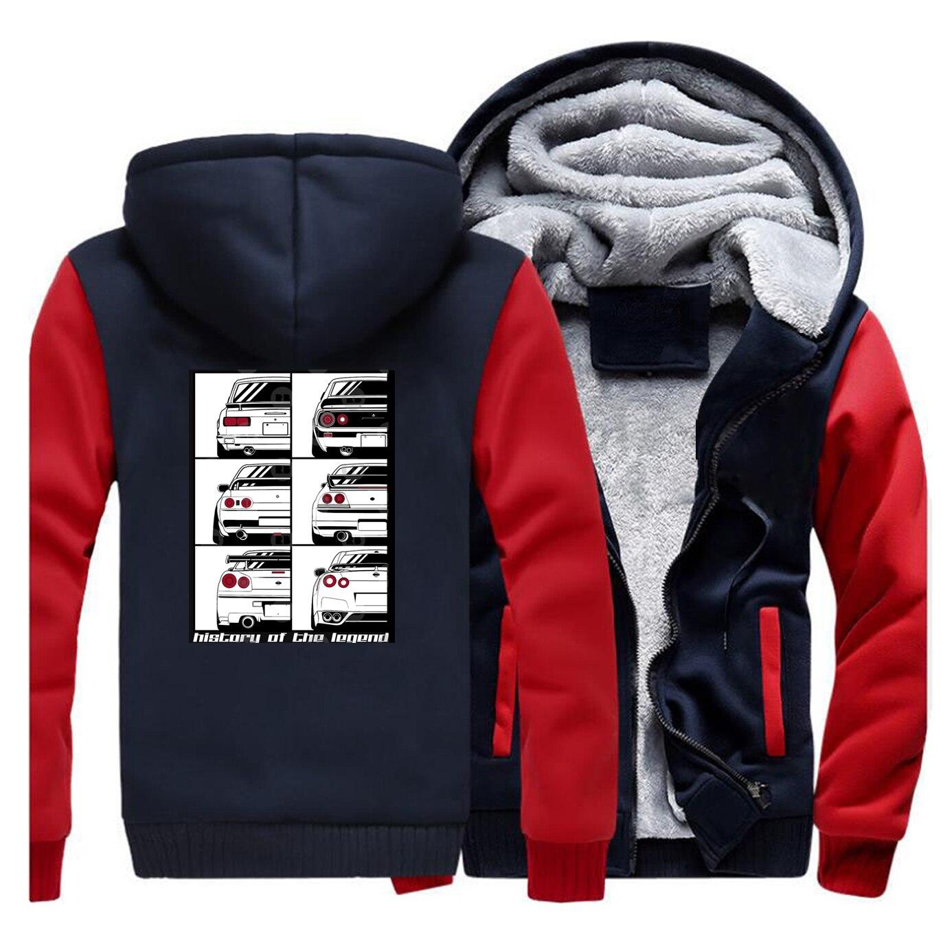 Novelty GTR Car Men Winter Thick Fleece Warm Jacket Hoodies Japan Anime Coat Male Sweartshirt Thicken Sportswear Outwaert Coats